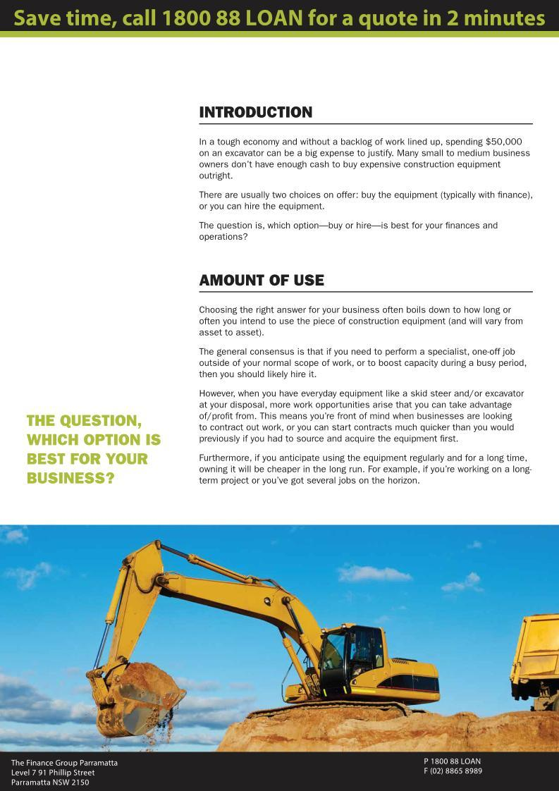 Construction and Earthmoving equipment 2 - Finance Rental Sydney