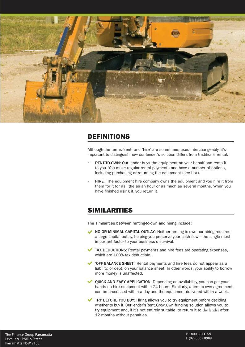Construction and Earthmoving equipment 4 - Finance Rental Sydney